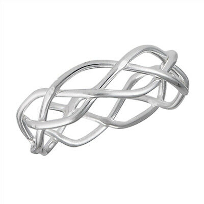 Eternity Criss Cross Weave Knot Wedding Ring 925 Sterling Silver Band Sizes 1-9