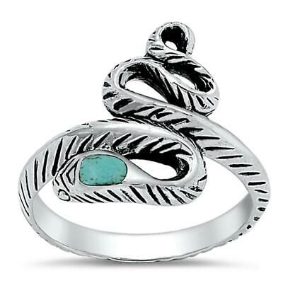 Snake Turquoise Head Fashion Ring New .925 Sterling Silver Band Sizes 5-9