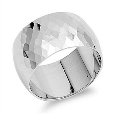 Sterling Silver Woman's Thick Hammered Ring Wholesale 925 Band 13mm Sizes 5-12