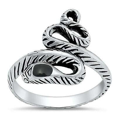 Snake Serpent Black Onyx Head Cute Ring New .925 Sterling Silver Band Sizes 5-9
