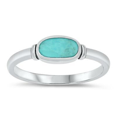 Women's Simple Turquoise Unique Ring New .925 Sterling Silver Band Sizes 4-10