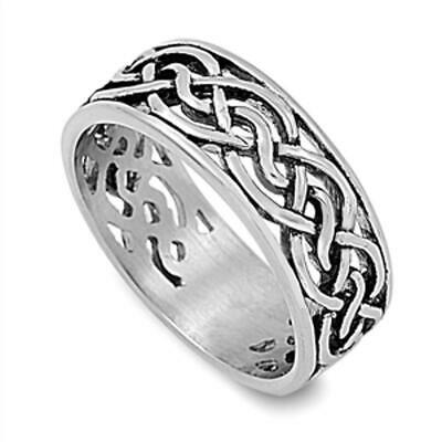 Celtic Infinity Knot Men's Wedding Ring New 316L Stainless Steel Band Sizes 8-13