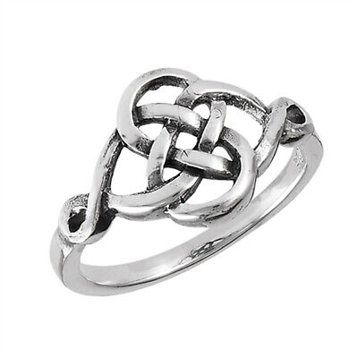 Oxidized Celtic Infinity Knot Ring New 925 Sterling Silver Weave Band Sizes 5-10