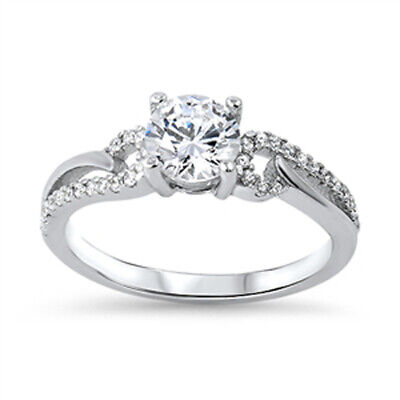 Clear CZ Unique Bridal Engagement Ring New .925 Sterling Silver Band Sizes 5-10
