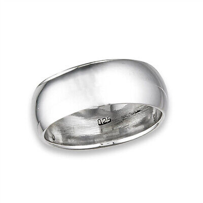 Men's Wedding Band 8mm Classic Wide Ring New .925 Sterling Silver Sizes 6-13