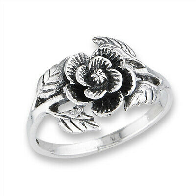 Oxidized Flower Leaf Rose Beautiful Vintage Ring Sterling Silver Band Sizes 6-9