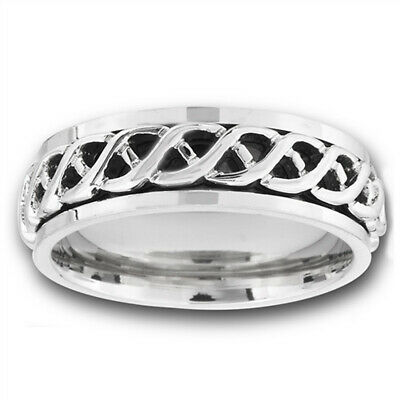 Spinner Celtic Infinity Wave Knot Wedding Ring Stainless Steel Band Sizes 8-13