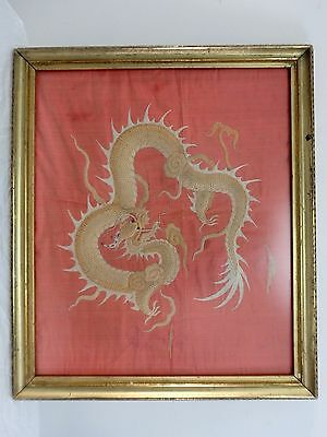 Antique 19th Century Chinese Silk Embroidered Writhing Dragon Tapestry Framed