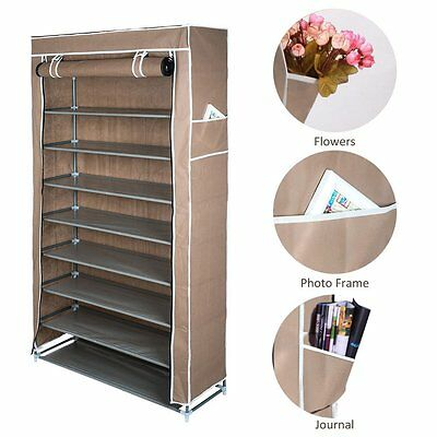 Optional Shoe Rack 10 Tier for 50 Pairs Shoe Storage Organizer Metal Fabric Rack