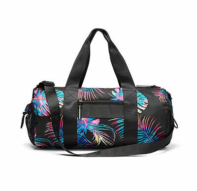 Victoria's Secret PINK Gym Duffle Bag Tote Sport Palms Tropical Logo Graphic NWT