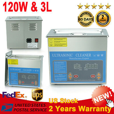 3L Ultrasonic Cleaner Stainless Steel Industry Heated Heater Tank w/Timer New