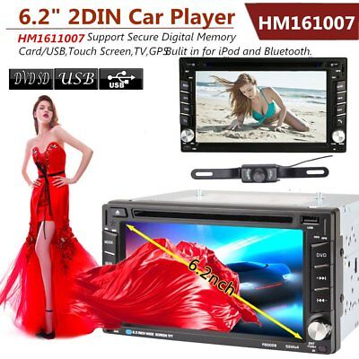 "6.2"" GPS Navigation HD Double 2 DIN Car Stereo DVD Player Bluetooth iPod MP3 Cam"