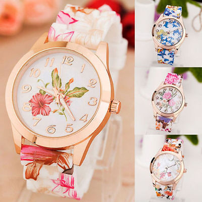 Women Girl Watch Printed Flower Causal Quartz WristWatches Silicone Fashion