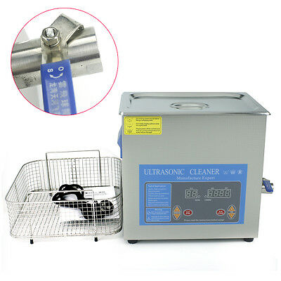 New Ultrasonic Cleaner 10L Liter Stainless Steel Industry Heated Heater Timer