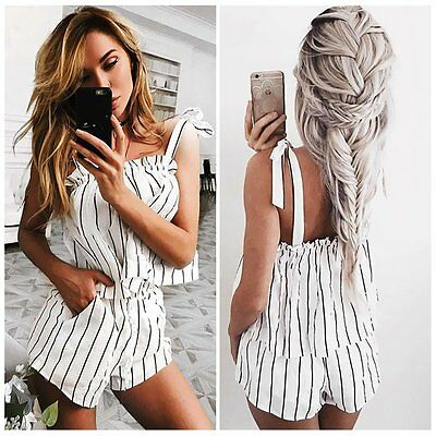 Women Summer Striped Two Pieces Set Casual Strappy Tank Top+Shorts Jumpsuit Suit