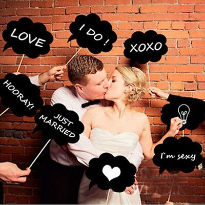 10PCS Speech Chalk Card  Board Photo Booth Props Photography Wedding Party