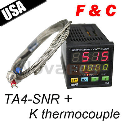 Dual Digital F/C PID Temperature Controller Control TA4-SNR with K thermocouple