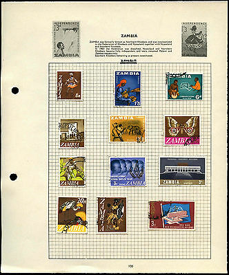 Zambia Album Page Of Stamps #V4495