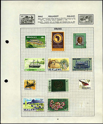 Malawi Album Page Of Stamps #V4558