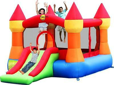Large Turret 12ft Bouncy Castle with Slide - Rainbow
