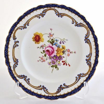 """Vintage Royal Crown Derby 8.5"""" Hand Over Painted Plate Floral With Embossed Rim"""