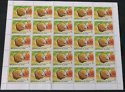 Zaire 1980, 1k Tropical Fishes MNH Full Complete Sheet #V4166