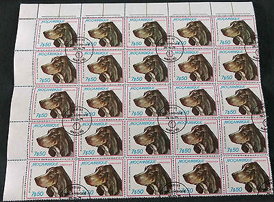 Mozambique 1979, 7e50 Dogs Part Sheet Block Of 25 Cto Used #V4186