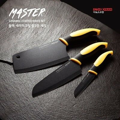 3Pcs SET Sharp Black Ceramic Coated Stainless Steel Chef Kitchen Knife  V_e