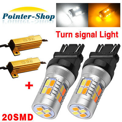 2x 3157 Dual Color Amber/White 20LED 5730Switchback Turn Signal Lights+Resistors