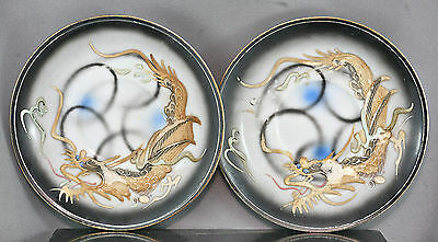 Two Antique Japanese Hand Painted Relief Dragon Plates Circa Late 1800s