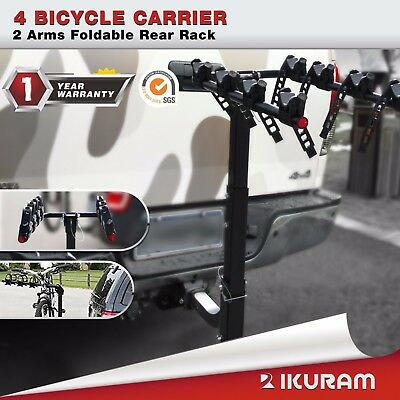 "4 Bicycle Bike Carrier Rack 2""Inch Hitch Mount 2 Arms Foldable Rear Lockable"