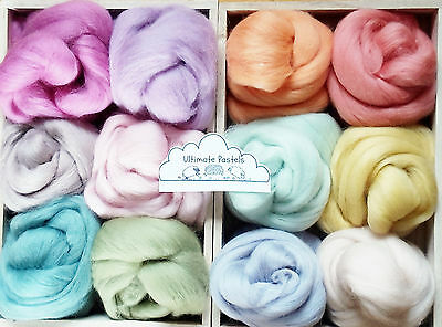 12 pastel colours Merino & Shetland Wool roving/ tops / needle felting, 60g