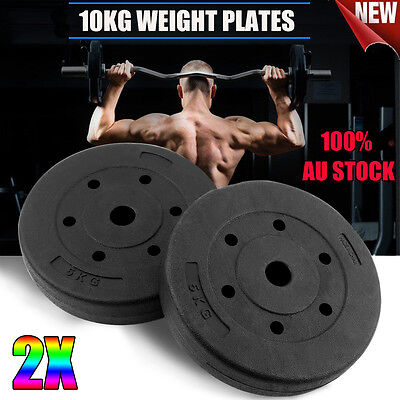 New 2X 5KG Everfit Weight Plate For Barbell Set Home Gym Press Fitness Exercise