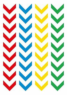 Bicycle Stickers - Set of 72 Multi Coloured Chevrons Decals for your Bike