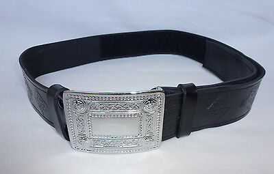 "Scottish Black Leather Embossed Celtic Kilt Belt & Buckle Size: 36"" - 42"""
