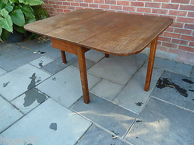 Antique Georgian Style Square Leg  Solid Oak Drop Leaf Dining Table