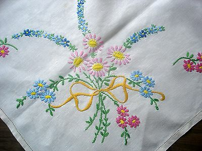 Vintage Hand Embroidered Tied Bouquet Cream Linen Tablecloth