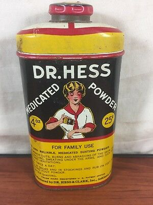 Vintage 1920's 1930's Dr. Hess Medicated Powder Advertising Collectible Tin Can