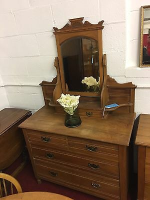 Edwardian Dressing Table With Mirror & Drawers