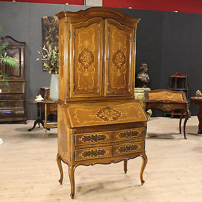 Trumeau Furniture Double Body Fore Nut Intarsi Piedmont Period '900 H 210 Cm