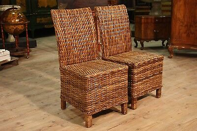 Pair chairs braided wood armchairs seats antique style 900 XX stools furniture