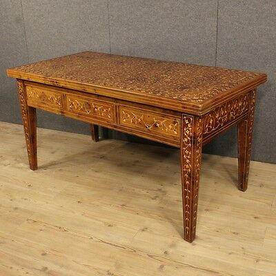 Secretary Desk French Inlaid Three Drawers Nacre Nut Period 900 Desk Bureau