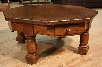 TABLE LOW OCTAGONAL 2 DRAWERS RUSTIC NORTH EUROPE PERIOD '900 (L 100 cm)