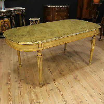 Table italian lacquered furniture painted top in imitation marble antique style