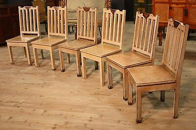 Group 6 chairs wood painted beige furniture chinese reproduction modern antique