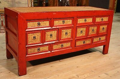 GRANDE CHEST OF DRAWERS LACQUERED WOOD INWEAVED 14 PERIOD '900 (L 164,5 cm)