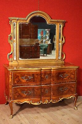 Mirror chimney wood painted golden frame italian furniture antique style 900 XX