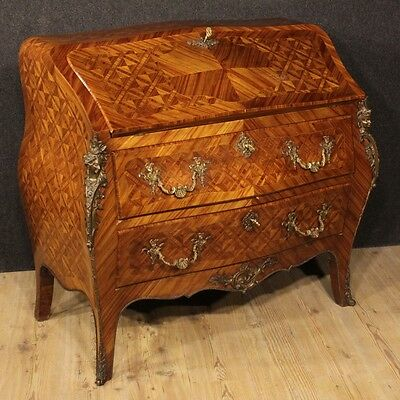 Fore French Wood Of Rose Move Rounded Bronze Golden Period '900 Bureau