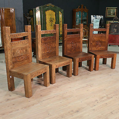 AWESOME GROUP QUATTRO CHAIRS GRANDE SIZE WOOD PAINT PERIOD '900 H 135 cm