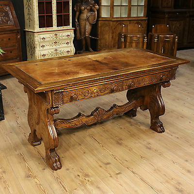 Table Secretary Desk Renaissance Paint Oak Two Drawers Holland Period '900